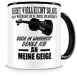 Samunshi® Geige Tasse mit Spruch Geschenk für Musiker Tasse Geige Becher Kaffeebecher groß Lustige Tassen zum Geburtstag Teetasse schwarz 300ml