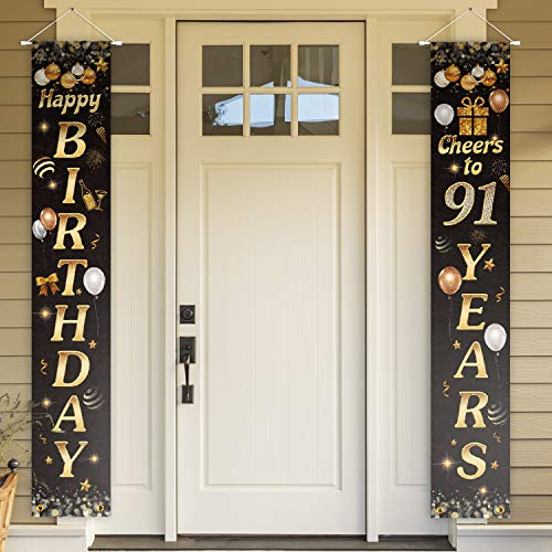 Cheers to 91 Years Black and Gold Door Decorations