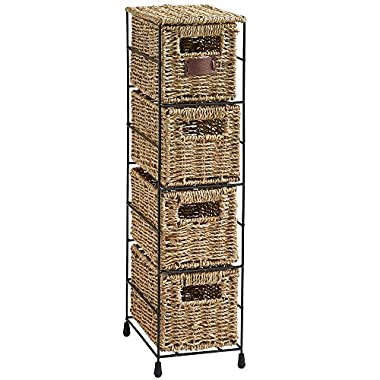 VonHaus 4 Tier Small Seagrass Basket Storage Tower Unit with Metal Frame - Ideal For Small Bathrooms & Home Storage (25.4 x 9.5 x 6.7 )