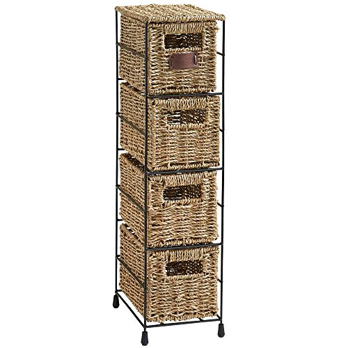 VonHaus 4 Tier Small Seagrass Basket Storage Tower Unit with Metal Frame - Ideal for Small Bathrooms Home Storage 254 x 95 x 67