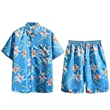 Summer Clothe Set, Men's Fashion Short Print Short Sleeve Shorts Set Shirt Set Pocket Vocation