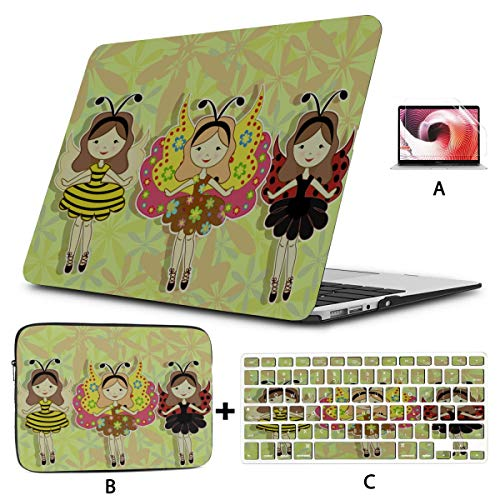 Mac Book Cases Cute Cartoon Girl With A Ladybug Macbook Pro 15 Cover Hard Shell Mac Air 11'/13' Pro 13'/15'/16' With Notebook Sleeve Bag For Macbook 2008-2020 Version