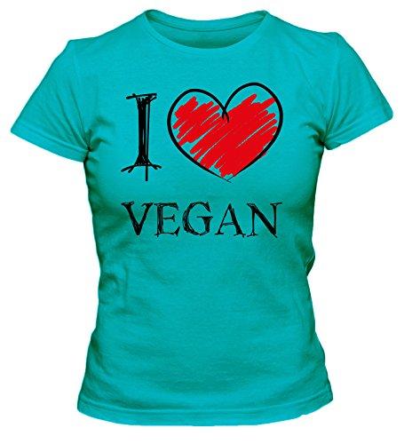 I Love Vegan Fun Damen T-Shirt_türkis_M