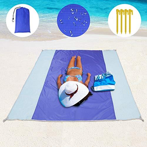 Coperta da Spiaggia, Coperta da Picnic Large 79''x79 '' Coperta da Campeggio Impermeabile e Resistente alla sabbia per 4-7 adulti, Materassino da Picnic Antisabbia per Viaggi, Campeggio, Escursionismo