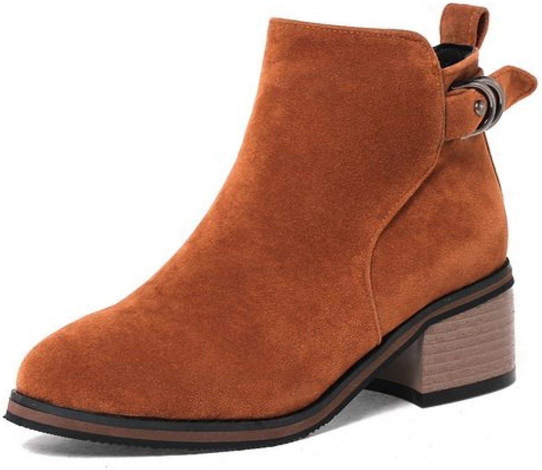 AandN Womens Pumps-shoes Closed-Toe Zip Low-Heel Warm Lining Road Manmade Nubuck Road Dress Comfort Slip-Resistant Urethane Pumps shoes DKU01877
