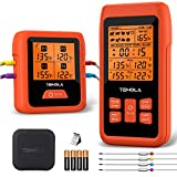 Termómetro de carne, con 4 sensores de temperatura, pantalla LCD de 490 metros, termómetro de cocina para barbacoa, barbacoa, ahumador, carne, bolsa de transporte EPP incluida (naranja)