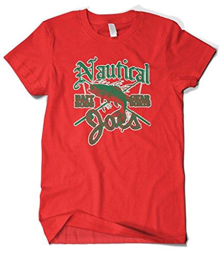 Cybertela Men's Nautical Joe's Bait Rod Gear Boat Fishing T-Shirt (Red, Small)