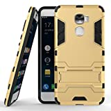LeEco Le Pro 3 Hülle, 2 in 1 Hybrid Hülle Heavy Duty Rugged Hard Hülle Shock Resistant mit Standfuß Backcover Hülle Handy Schutzhülle Schale Tasche Cover für Letv LeEco Le Pro 3 / Le Pro3 X720 (Gold)