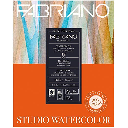 Fabriano 140 Lb (300 gsm) Cold Press Watercolor Pad 11 x 14 inch 12 sheets