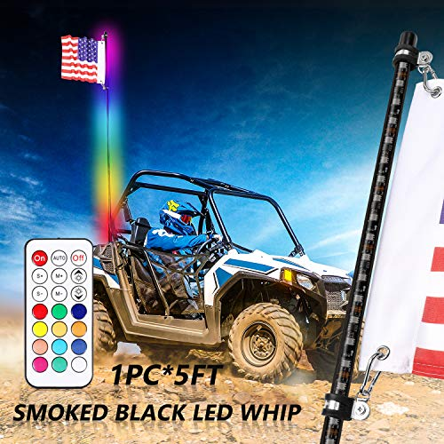 Niwaker 5ft Smoked Black LED Whip Lights with RF Remote Control RGB Dancing/Chasing Light Antenna LED Whips for ATV UTV Polaris RZR Off Road Truck Vehicle Dune 4X4