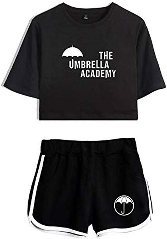 The Umbrella Academy Crop Tops Two Piece Set Shorts+Lovely T-Shirt Harajuku Streetwear Girl Sets