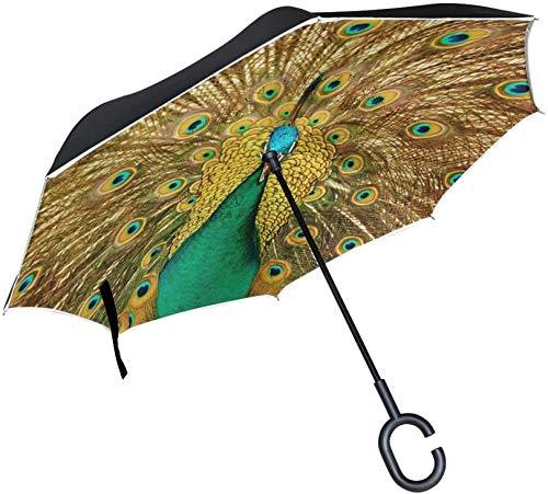 Paraguas invertido de doble capa Paraguas plegable inverso Protección a prueba de viento Paraguas grande y recto para la lluvia del coche al aire libre con mango en forma de C, Paraguas de p