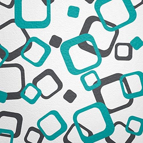 WANDfee® Wandtattoo Vierecke 60 Aufkleber FARBWUNSCH Wandaufkleber Kinderzimmer Fliesenaufkleber Badezimmer Küche türkis dunkel-grau