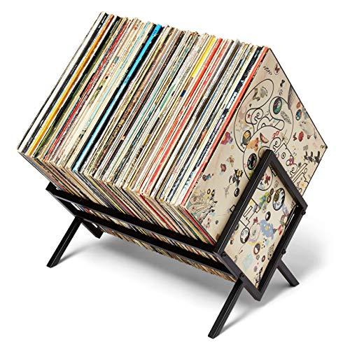MODERN VINYL Record Holder - Matte Black Metal - 80-100 LP Storage - Simple, Quick Assembly - Vinyl Display, Storage - High-End Design - Protects Vinyl - Organize Albums - Book, Magazine, Files