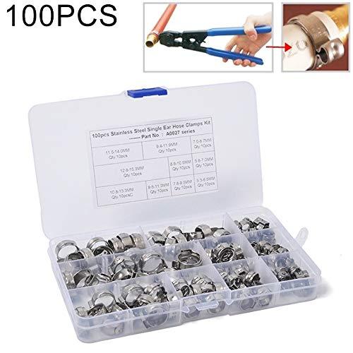 N/A Hsagdas Einzel Ohr-Schlauchklemmen/Edelstahl Hydraulikschlauchschellen O-Clips Rohr Brennstoff Luft, Innendurchmesser: von 5.3-22.6mm, 90 PCS