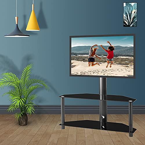 TANGIST TV Soporte Monitor Holder TV Rack Ajustable Vidrio Templado Metal Frame Floor TV Stop 2 Niveles de Vidrio Templado