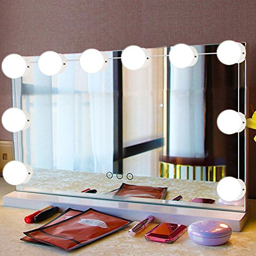 Hollywood Style LED Vanity Mirror Lights, 10Pcs LED Vanity Makeup Comestic Lighted -