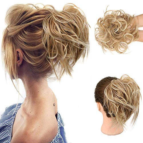 HMD Tousled Updo Messy Bun Hair Piece Hair Extension Ponytail With Elastic Rubber Band Updo Extensions Hairpiece Synthetic Hair Extensions Scrunchies Ponytail Hairpieces for Women