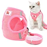 smalllee_lucky_store - de pana arnés y correa para gatos antiescape anti tirones arnés y correaes para perros pequeños,reflectante no se escapen ajustable, chaleco para cachorros,rosado,XS