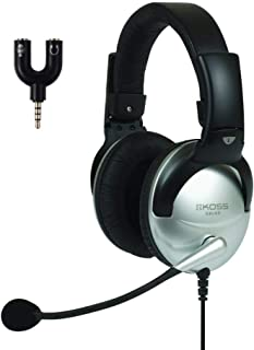 Koss SB45-ADP, Communication Headset with 3.5mm Headphone Splitter Adapter (2 TRS Female to 1 TRRS Male)