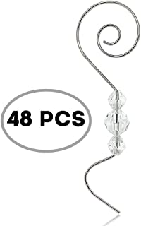 BANBERRY DESIGNS Christmas Ornaments Hooks Christmas Tree Hanger Silver Metal Wire Hanging Hook Set/48 -Swirl Scroll Design with Clear Beads -Hangers for Christmas Tree Decoration