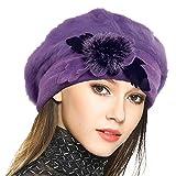 VECRY Women's 100% Wool Bucket Hat Felt Cloche Beret Dress Winter Beanie Hats (Angora-Purple)