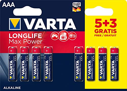 Varta 4703101428 Longlife Max Power (Max Tech) Alkaline Battery, AAA LR3, Pack of 5 + 3 Batteries - Design may vary, Savings pack, Promotional