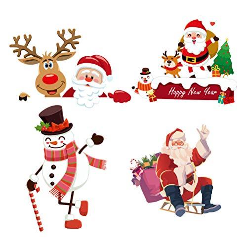PRETYZOOM 4 pegatinas de interruptor de Navidad extraíbles, adorables para pared, para fiestas