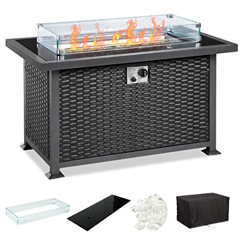 U-MAX 44in Outdoor Propane Gas Fire Pit Table, 50,000 BTU Auto-Ignition Gas Firepit with Glass Wind Guard, Black Tempered Glass Tabletop & Clear Glass Rock, Black PE Rattan, CSA Certification