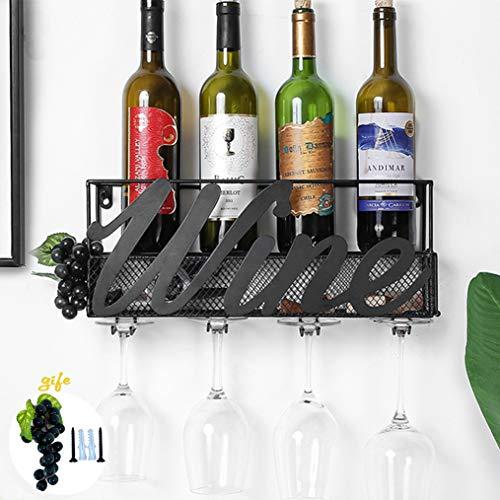 Tinyuet Scatola per Vino da Parete | Portabottiglie e Vetro | Decorazioni per la casa e la Cucina | Deposito di Sughero | Rack di stoccaggio - Nero