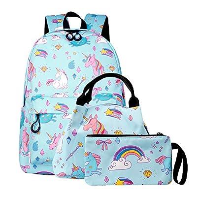 SEDEX - Mochila de unicornio, para niñas, Adolescentes y escolares, con cremallera y lona, para hombre, turquesa (Azul) - JJ-67-BU-SET HC