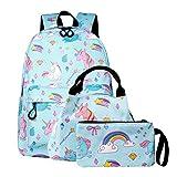 SEDEX Mochila Escolar Unicornio Niña Infantil Adolescentes Sets de Mochila Backpack Casual Set con Bolsa del Almuerzo y Estuche de Lápices Azul