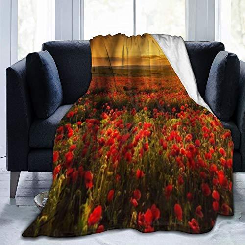 SURERUIM Manta De Tiro De Lana Suave,Flores Campo de Amapolas Rojas Amanecer floreciente,Home Hotel Sofá Cama Sofá Mantas para Parejas Niños Adultos,150x200cm
