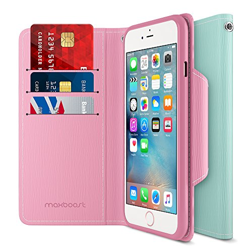 Maxboost iPhone 6S 6 Wallet Case, iPhone Wallet Case for iPhone 6S / 6 Protective PU Leather Card Case with Credit Card Slots + Side Pocket Flip Magnetic Stand Feature – Light Pink/Mint