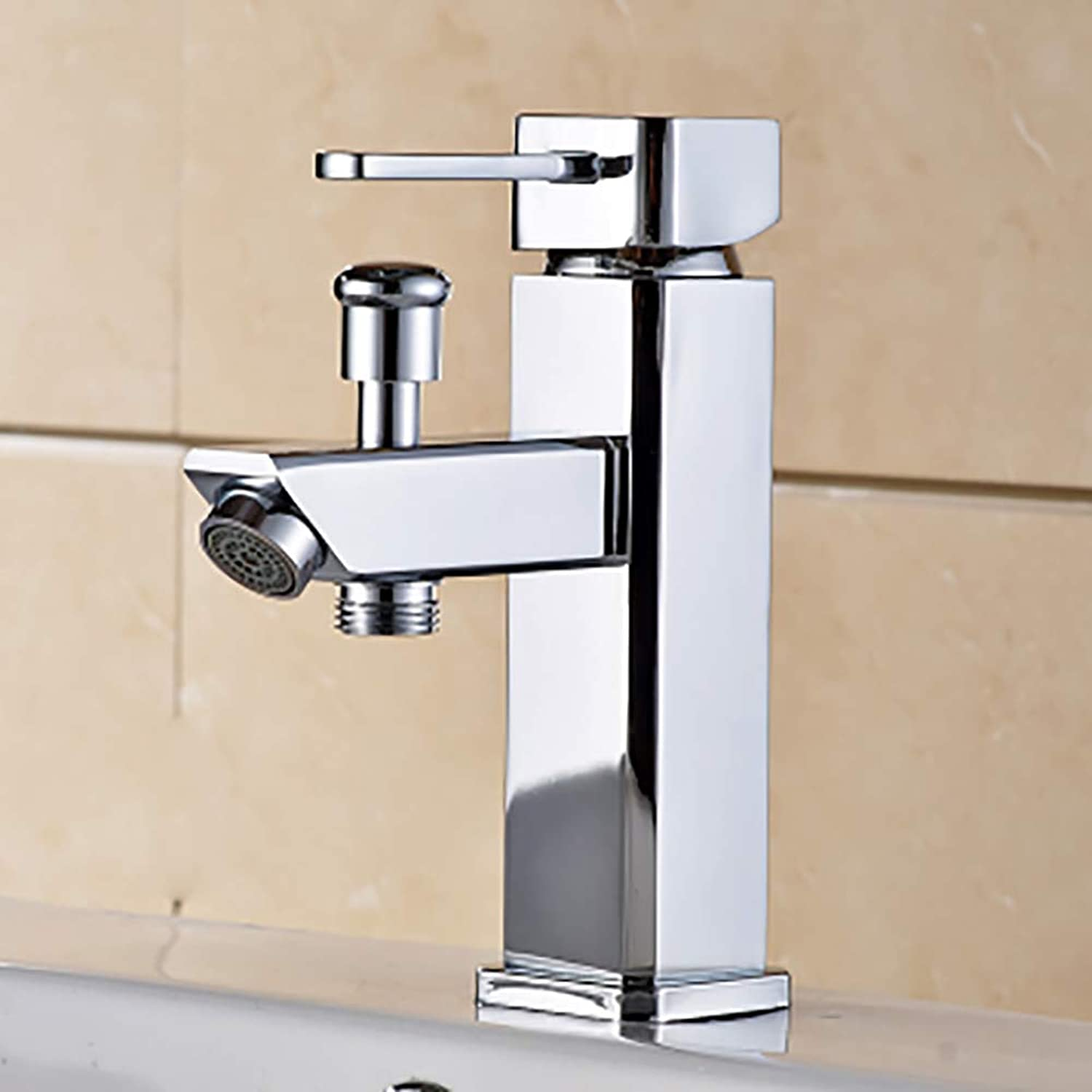 Sink Faucet, Kitchen Bathroom Vanity Mixer Tap Chrome Lead-Free Drip-Free Rust-Resistant Modern with Hose-B