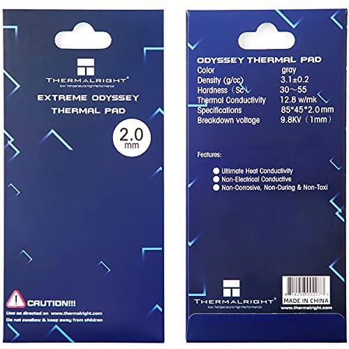 SnowBabe Thermalright 12,8 W MK Pad Termico in Silicone, Resistenza al Calore e alle Alte Temperature Non conduttore, Pad Termico Facile da Usare per Dissipatore di Calore GPU CPU(85x45x2mm)