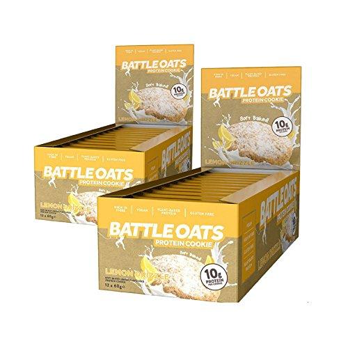 Protein Cookies Bars Lemon Drizzle Battle Oats Vegan Gluten Free 24 x 60g