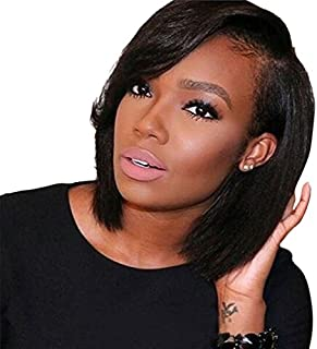 ARUKIHAIR Short Bob Human Hair Lace Front Wig Brazilian Virgin Glueless Silky Straight Hair Wigs with Baby Hair for Black Women 10A Grade 136 Lace Wig Natural Color Hair 8 Inch 130% Density