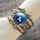 QYQMYK Constelación Pulsera,Capricornio Moderno Azul Luminoso Cuero Multicapa Pulsera Brazalete Tejido A Mano Perso Nalized Moda Horóscopo Encanto para Hombres Mujeres Accesorios De Viaje Regalo