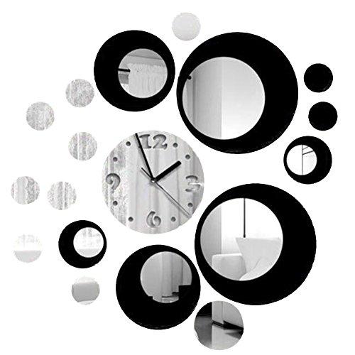 Soledi Reloj de pared de metal con efecto de espejo Adhesivo Vinilo...