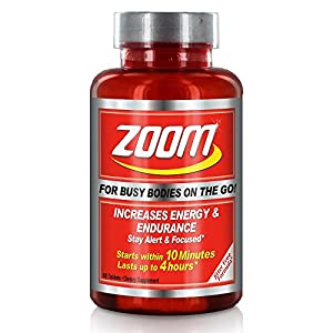Energize and recharge your body in just 10 minutes with an all-natural formula that lasts up to 4 hours Our jitter free formula helps you stay alert & focused whether you're at work or play, zoom throughout your day! Each tablet of Zoom contains our ...