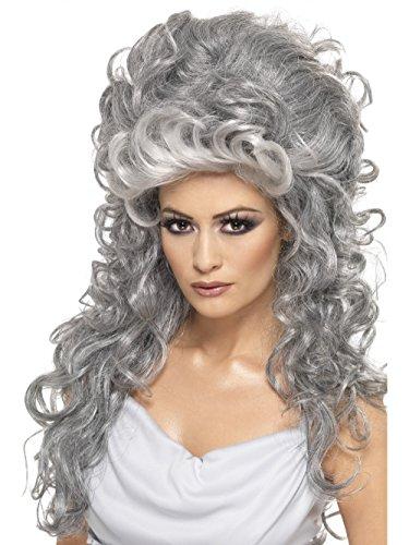 Longue perruque bouclée grise avec volume taille : taille standard