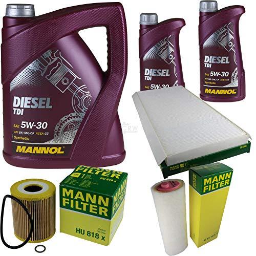 Aceite de motor Mannol Diesel TDI 5W-30 + MANN-FILTER paquete de filtros para BMW X5 E53 3.0 D