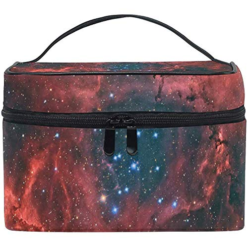 Grote make-up trein geval Red Nebula Galaxy Space draagbare draagbare ritssluiting make-up tas organizer