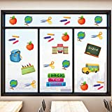 Back to School Window Clings School Day Static Stickers Classroom Window Clings for Wall Glass Car Welcome Back to School Classroom Decorations (8)