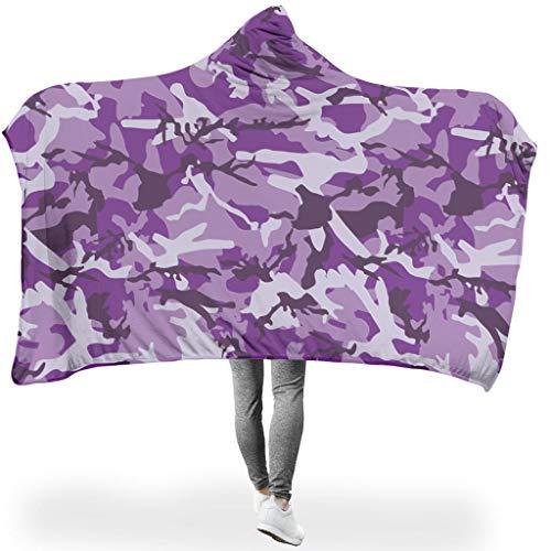 Lind88 große Kapuzenpullover, Camouflage-Muster, Fleece, zum Wickeln mit Ärmeln – tragbare Decke, geeignet für Mädchen, Fleece, weiß, 50x60 inch
