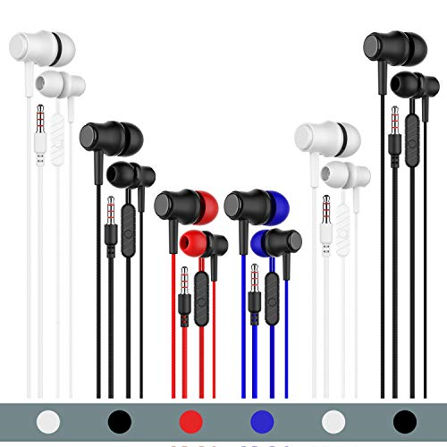 Earbuds Headphones with Microphone 6 Pack,Earbuds Wired Stereo Earphones in-Ear Headphones Bass Earbuds, Fits All 3.5mm Interface Stereo for iPhone and Android Smartphones,iPod,iPad, MP3 Players