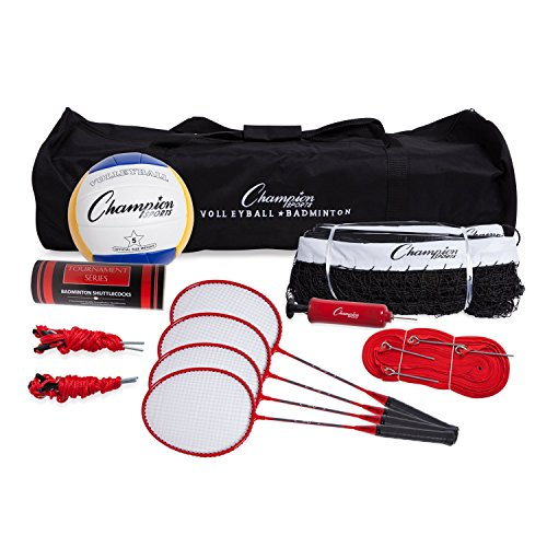 Champion Sports CG202 Volleyball & Badminton Set: Net, Poles, Ball, Rackets & Shuttlecocks, Portable Equipment for Lawn, Beach & Tournament Games