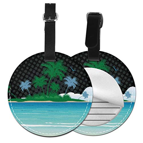 Luggage Tag PU Leather Bag Tag Travel Suitcases ID Identifier Baggage Label Palm Tree Island Beach