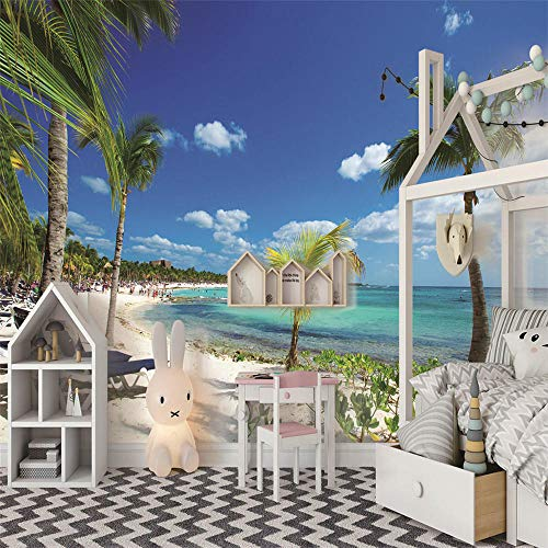 Custom 3D Photo Wallpaper Walls Blue Beach Scenery Cartoon Wall Mural Kids Wall Paper Children's Room Decor -200X150Cm